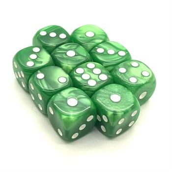 Набор кубиков 10 шт. D6 мраморный зелёный 16мм с закруглёнными углами