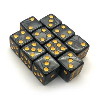Набор кубиков 10 шт. D6 мраморный чёрный 16мм с ровными углами