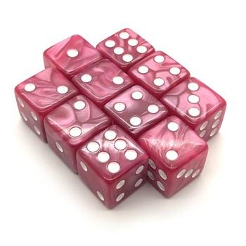 Набор кубиков 10 шт. D6 мраморный розовый 16мм с ровными углами