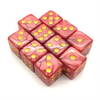 Набор кубиков 10 шт. D6 мраморный красный 16мм с ровными углами