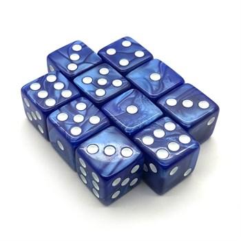 Набор кубиков 10 шт. D6 мраморный синий 16мм с ровными углами