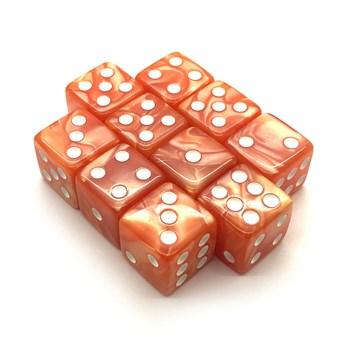 Набор кубиков 10 шт. D6 мраморный оранжевый 16мм с ровными углами