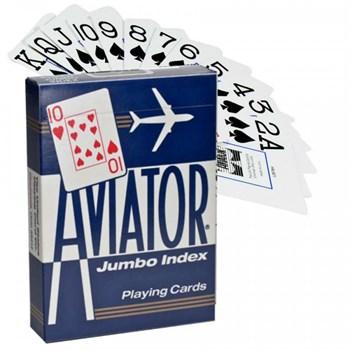 Игральные карты Aviator Jumbo,  синие 54 листа