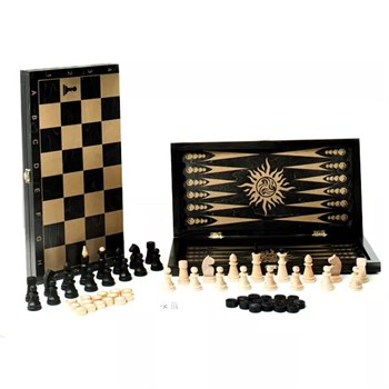 """ОФ19 /102-12 Игра 3 в 1 малая """"Классика"""", рис золото, с гроссм. пластм. шахматами  (400*200*60)"""