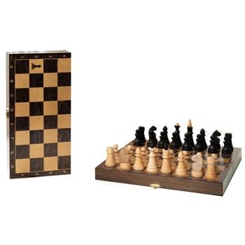 """Шахматы обиходные деревянные с дорожной деревянной венге доской, рисунок золото """"Класс"""