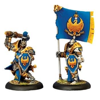 Cygnar  Sword  Knight  Officer  &  Standard  Bearer  BLI