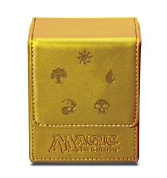 """Кожаная коробочка """"Ultra-Pro"""" (магическая, на 100 карт в протекторах): рисунок """"Символы Маны"""": золотая"""