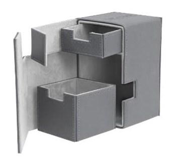 Коробочка 100 + кожаная серая премиум с отделением для кубиков (NEW)