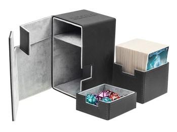 Коробочка 100 + кожаная черная премиум с отделением для кубиков (NEW)
