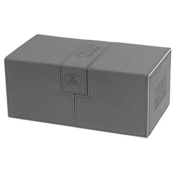 Коробочка двойная кожаная черная с отделением для кубиков на 200 карт (NEW)