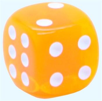 Кубик D6 «Кристалл» оранжевый 14мм