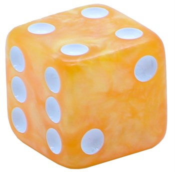 Кубик D6 «Перламутр» золото 16мм