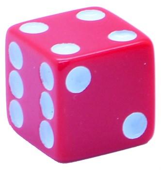 Кубик D6 «Казино» красный 16мм