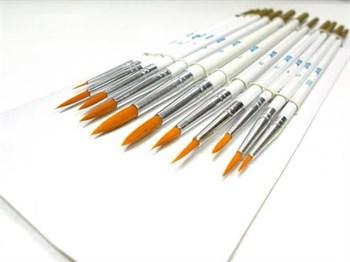 Набор кистей из синтетического волоса, 12 шт. (№ 0000, 000, 00, 0, 1, 2, 3, 4, 5, 6, 7, 8)