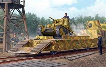 Немецкая ЖД платформа с танком Pz.Kpfw.38(t) (1:35)