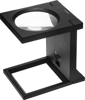"""Лупа ЗУБР """"МАСТЕР"""" складная на подставке, светодиодная подсветка, 2 кратное увеличение, диаметр 110мм"""