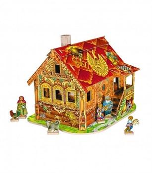 Игровой набор из картона (сборный домик с героями). Красная Изба