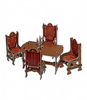 """Коллекционный набор мебели """"Столовая"""". Объемный пазл. Материал: картон."""