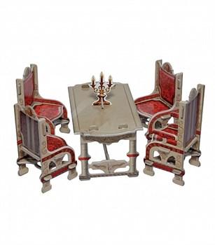 """Коллекционный набор мебели """"Столовая"""". (серая) Объемный пазл. Материал: картон."""