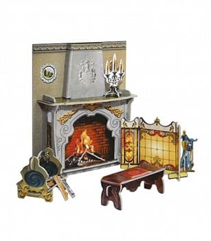 "Коллекционный набор мебели ""Камин"". Объемный пазл. Материал: картон."