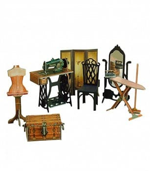 """Коллекционный набор мебели """"Швейная мастерская"""". Объемный пазл. Материал: картон."""