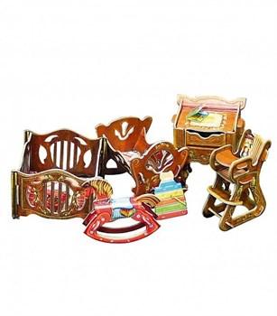 """Коллекционный набор мебели """"Детская"""". Объемный пазл. Материал: картон."""