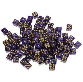 Кубик D6 фиолетовый с жёлтыми точками.