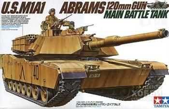 Американский современный танк M1A1 Abrams с 120-мм пушкой и 2 фигурами танкистов