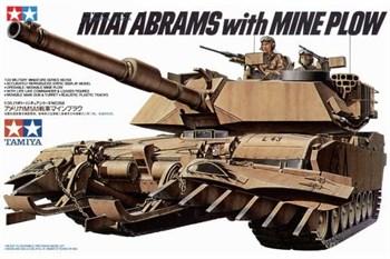 Сборная модель Амер. совр. танк M1A1 Abrams с минным траллом и 2 фигурами танкистов Tamiya