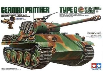 Немецкий танк Panther Type G (версия со стальными катками) и прибором ночного видения с 1фигурой танкиста