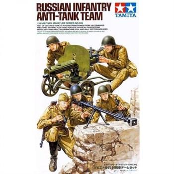"""Сборная модель 1/35 Советские пехотинцы, 5 фигур, с пулеметом """"Максим"""", противотанковым ружьем Дегтярева, кирпичная стенка в комплекте, 1943г. Tamiya"""