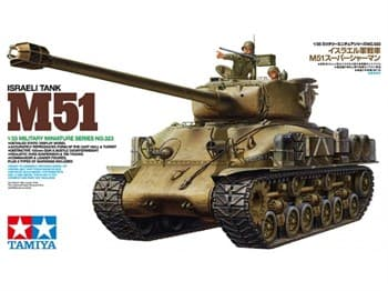 Израильский танк M51 с двумя фигурами. Набор инструментов, канистр и др. в комплекте.