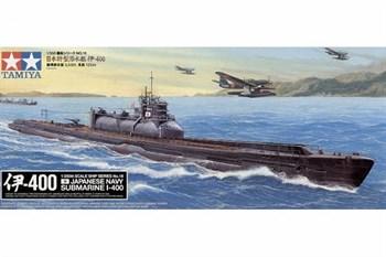 1/350 Японская подводная лодка I-400 с подставкой, фототравление, 3 самолета Seiran