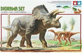 1/35 Трицератопс плюс два Velociraptor, один человек, дерево, рыбы, лягушка, подставка в виде ландшафта.(Triceratops Diorama Set)