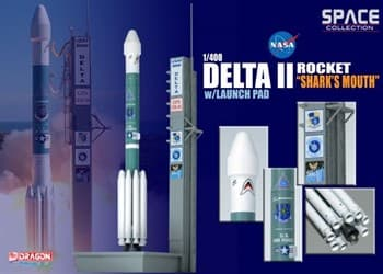 """Космос  Delta Ii Rocket """"SharkDrags Mouth"""" W/Launch Pad  (1:400)"""