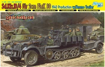 САУ Sd.Kfz.10/4 fur 2cm Flak 30 1040 Production with Ammo Trailer  (1:35)