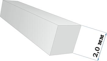 Пластиковый профиль квадрат 2,0*2,0 длина 250 мм