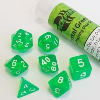 Набор кубиков Role Playing Dice Set - Crystal Green (7 шт, 16 мм)