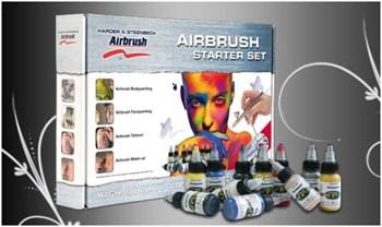 Airbrush Starter Set Body Edition  Ultra 0.2mm, compressor 5M, color set, airhose compl., DVD Workshop