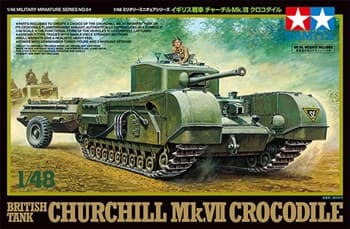 1/48 английский танк BRITISH TANK CHURCHILL MK.VII Crocodile, с фигурой командира.