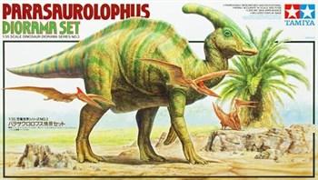 """Сборная модель 1/35 Диорамма """"Паразауролофусы, плюс три птеродактиля, один человек и дерево, подставка в виде ландшафта"""".(Parasaurolophus Diorama Set) Tamiya"""