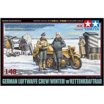Сборная модель 1/48 немецкие офицеры и солдаты люфтваффе в зимней форме. В наборе 5 фигур и kettenkraftrad. Tamiya
