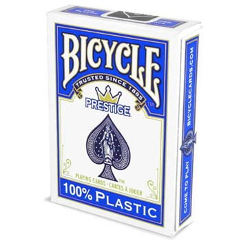 "Карты ""Bicycle Prestige Rider 100% Plastic Jumbo"", синяя рубашка"