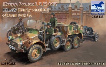 Автомобиль   Krupp Protze L2 H 143 Kfz.69 with 3,7 cm Pak 36 (Early version)  (1:35)