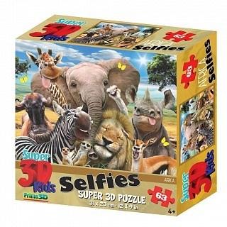 Prime 3D: 13542 Пазл Super 3D «Африка селфи», 63 детал., 4+