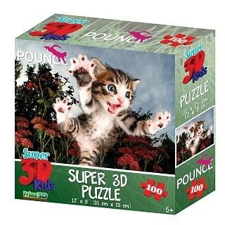 Prime 3D: 13568 Пазл Super 3D «Пушистый охотник», 100 детал., 5+