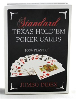 Карты для покераTexas Holdem (100% пластик Jumbo Index) красные
