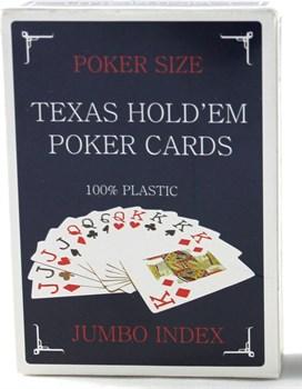 Карты для покераTexas Holdem (100% пластик Jumbo Index) синие